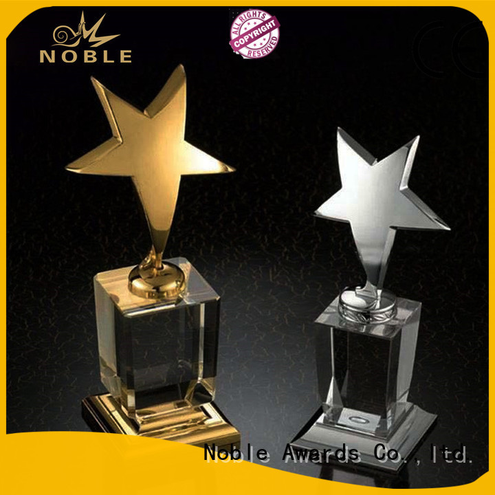 Noble Awards solid mesh glass trophy supplier For Sport games