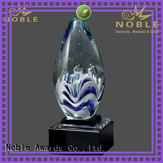 Noble Awards durable Art glass trophies supplier For Gift